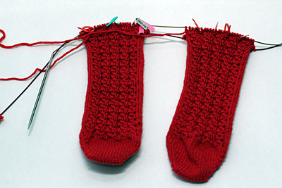two toe up socks in progress
