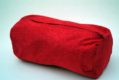 red handmade zipped makeup bag