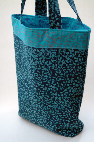 blue batik tote bag