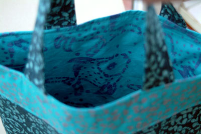 blue batik fish material bag lining