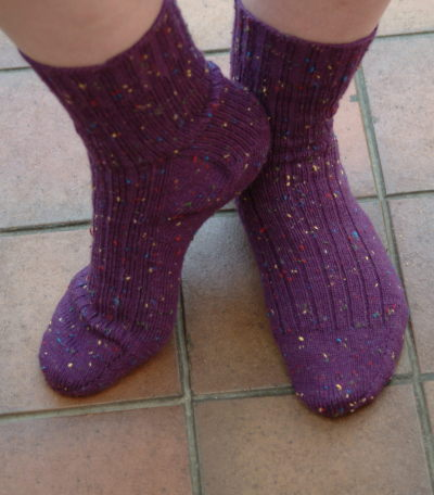 Toe Up socks in Knit Picks Essential Tweed
