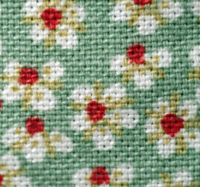 green flowered fabric