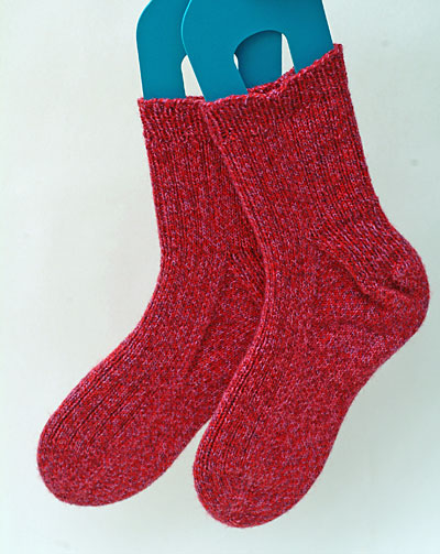 Ribbed toe up socks in Bergre de France Cho'7e