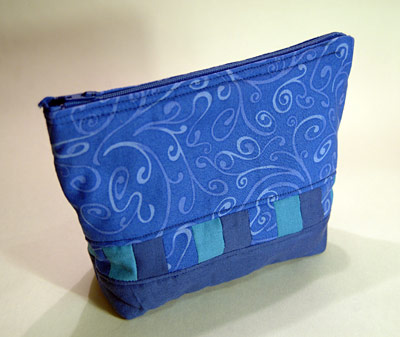 Blue make-up bag