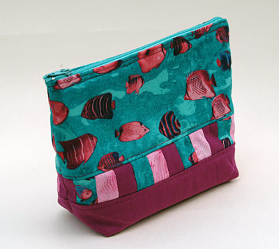 hand made make up bag with fish fabric