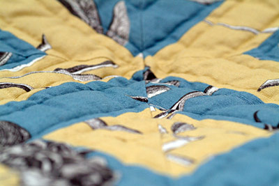 Blue & Yellow double strip wall quilt