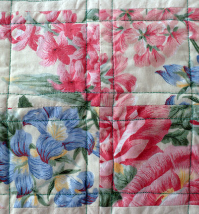 close up of floral fabric used in wall quilt