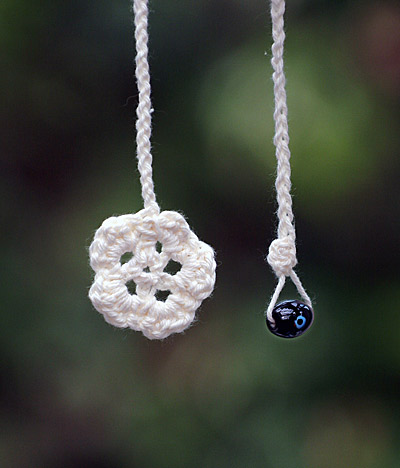Crocheted flower book mark