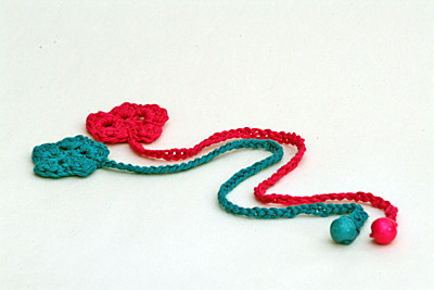 Crocheted flower book marks